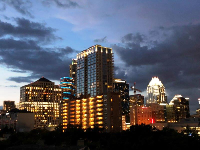 Austin skyline al tramonto